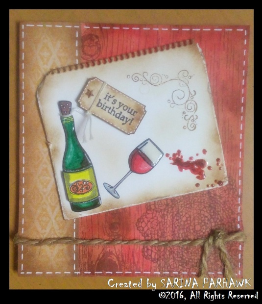 Wine Bottle and Glass Card 1