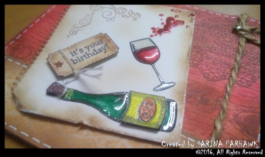 Wine Bottle and Glass Card 12
