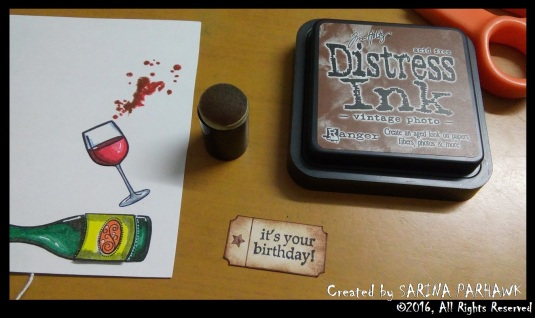 Wine Bottle and Glass Card 4