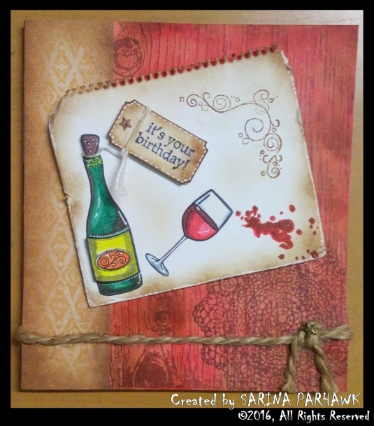 Wine Bottle and Glass Card 6
